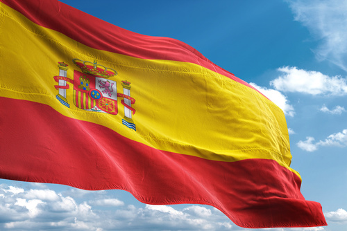 Spain flag waving sky background 3D illustration