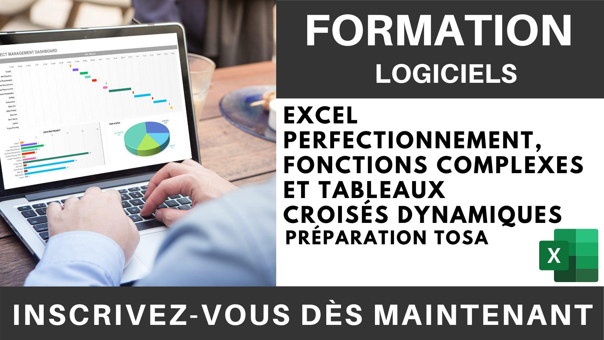 Formation LOGICIEL - Excel Perfectionnement, Fonctions complexes et Tableaux croisés dynamiques - Préparation TOSA