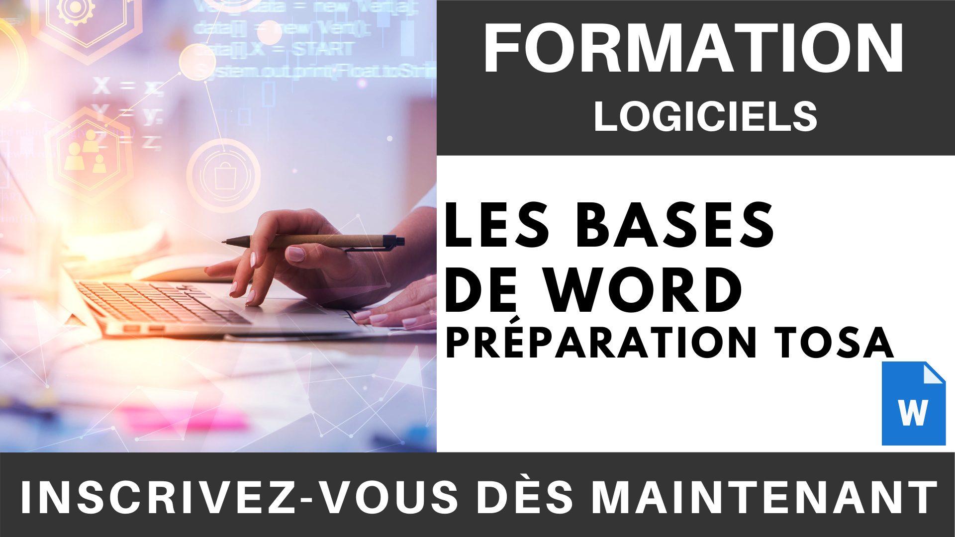 Formation LOGICIEL - Les Bases de Word - Préparation TOSA