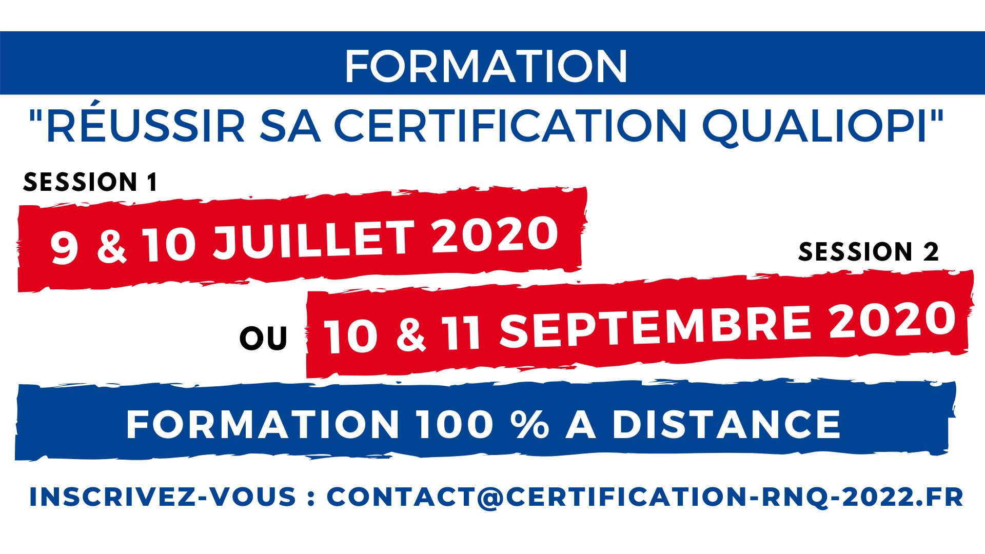 Formation Réussir QUALIOPI Juillet 2020